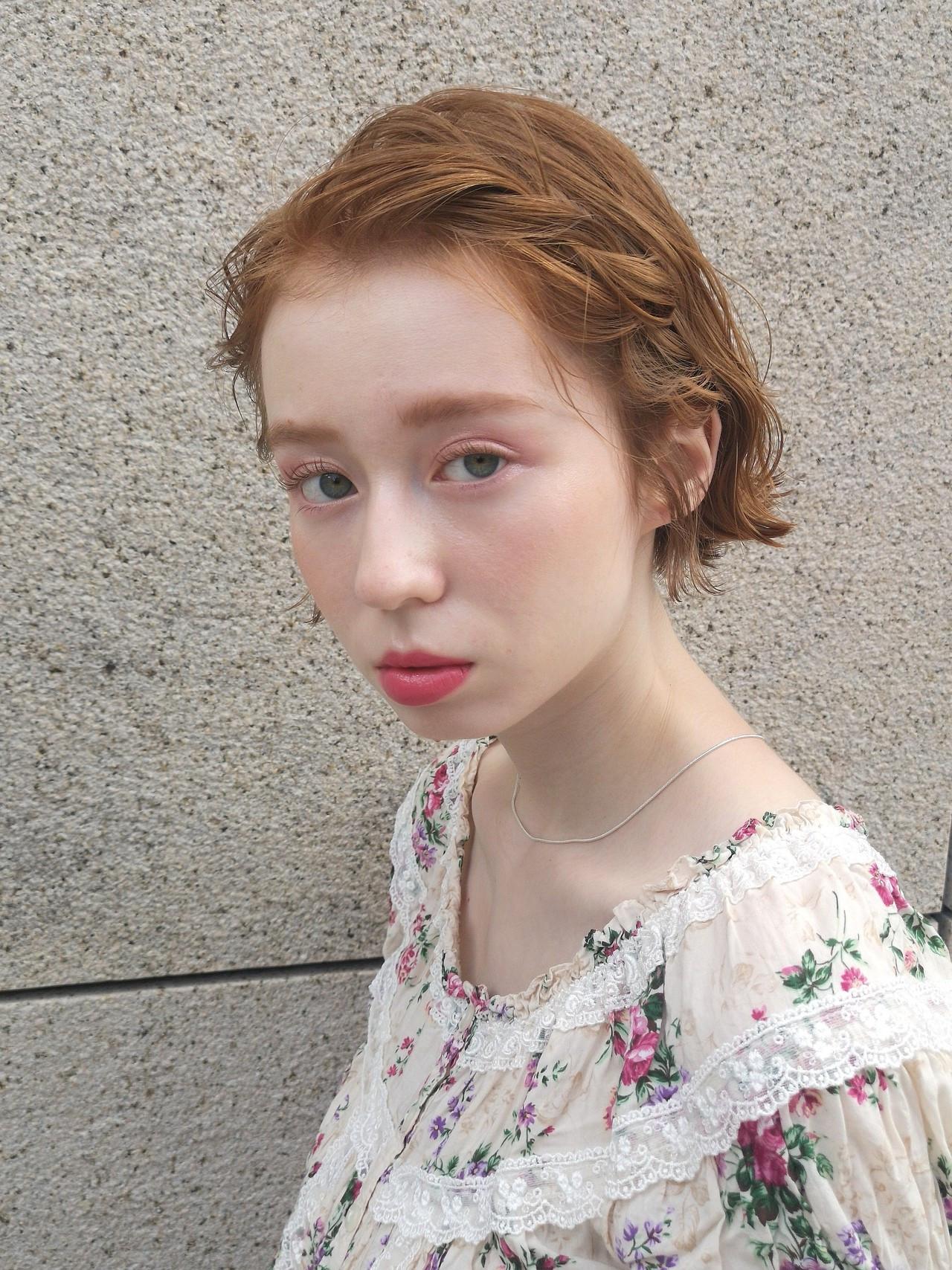 大人かわいい ガーリー 切りっぱなしボブ ミニボブ ヘアスタイルや髪型の写真・画像