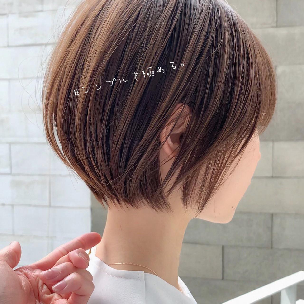ナチュラル ショートボブ インナーカラー ショート ヘアスタイルや髪型の写真・画像