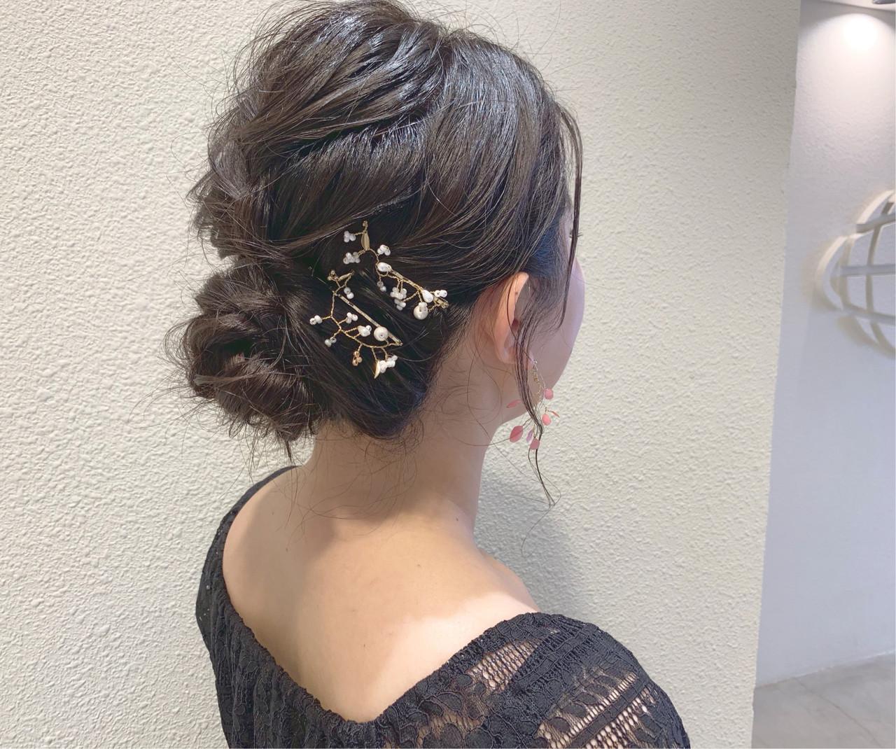 簡単ヘアアレンジ ヘアアレンジ エレガント 結婚式 ヘアスタイルや髪型の写真・画像