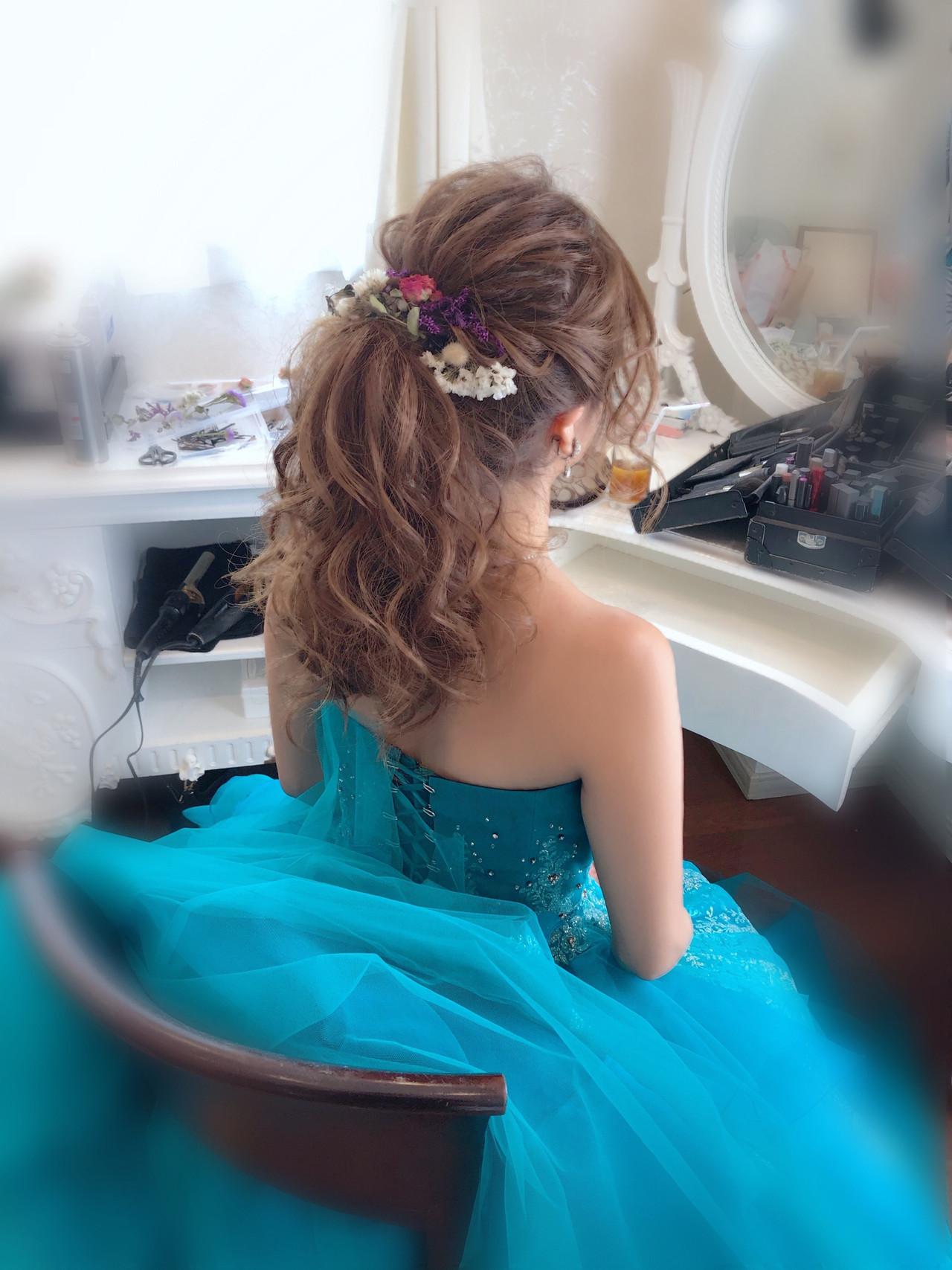 ヘアセット フェミニン 結婚式 ポニーテール ヘアスタイルや髪型の写真・画像