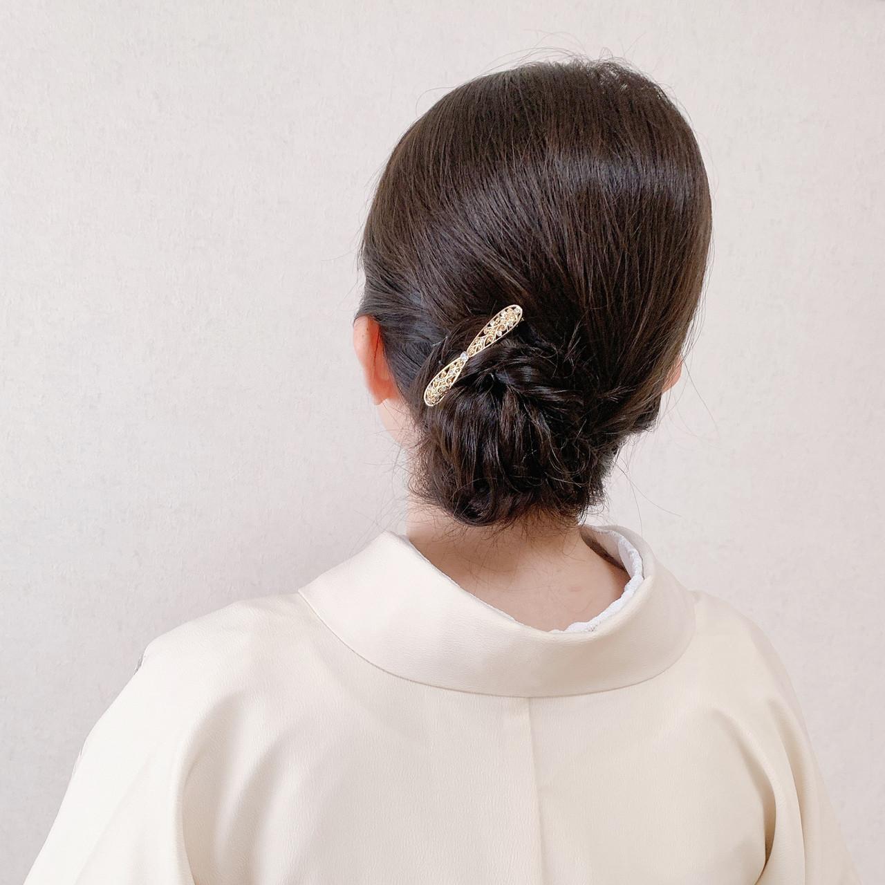 ミディアム 結婚式ヘアアレンジ 訪問着 アップスタイル ヘアスタイルや髪型の写真・画像