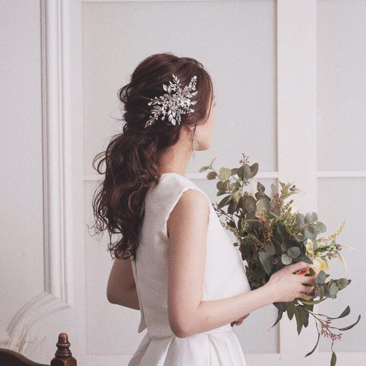 フェミニン ポニーテール 結婚式 花嫁 ヘアスタイルや髪型の写真・画像