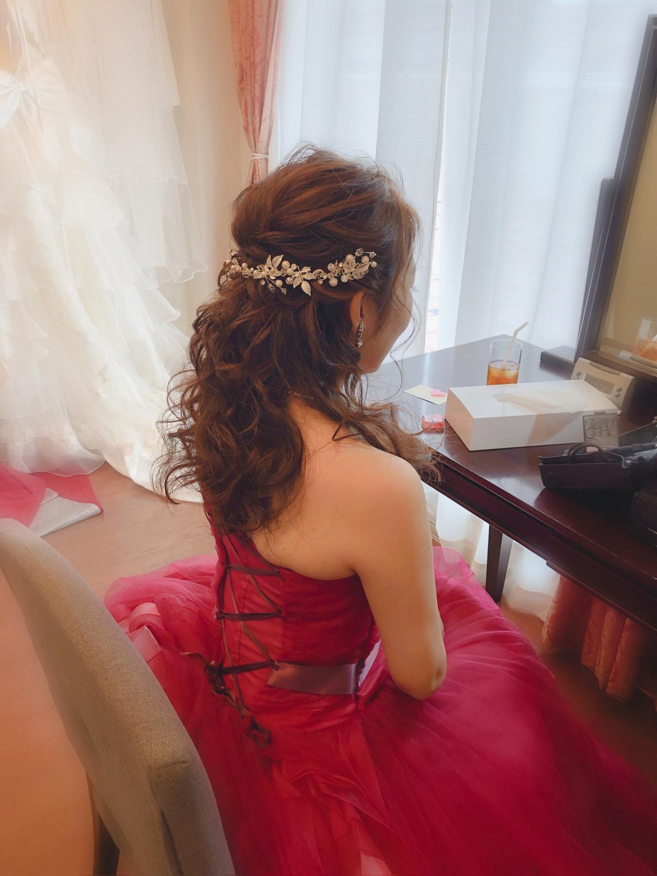 フェミニン ヘアセット セミロング 結婚式 ヘアスタイルや髪型の写真・画像