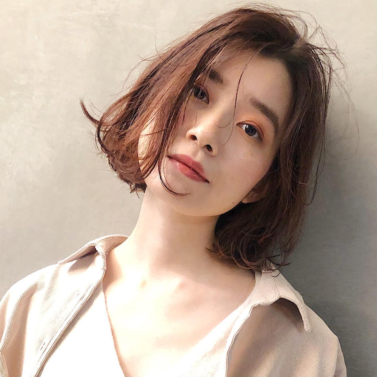 アンニュイほつれヘア デート 透明感カラー モテボブ ヘアスタイルや髪型の写真・画像