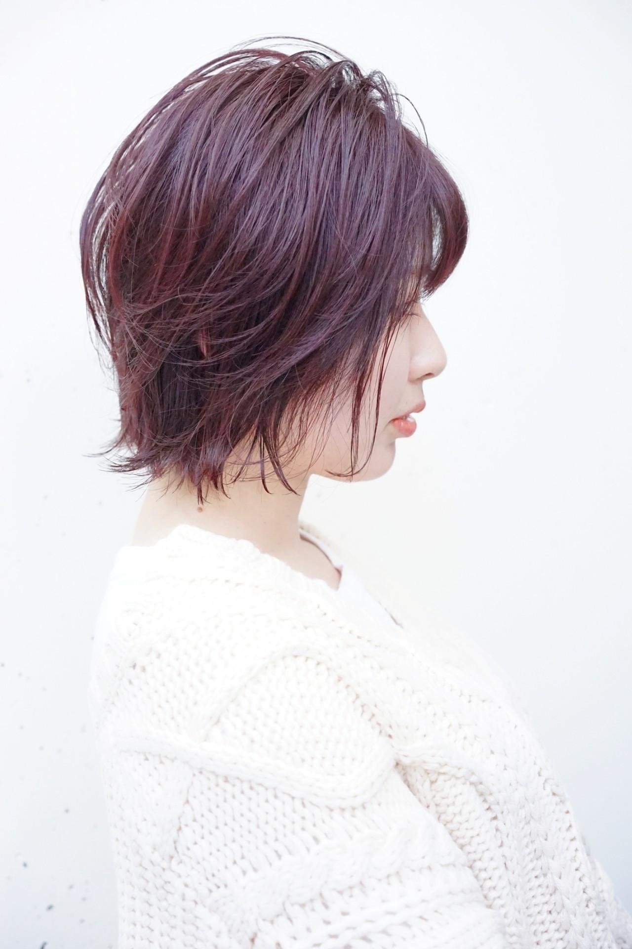 ショートヘア ピンク 大人かわいい ナチュラル ヘアスタイルや髪型の写真・画像