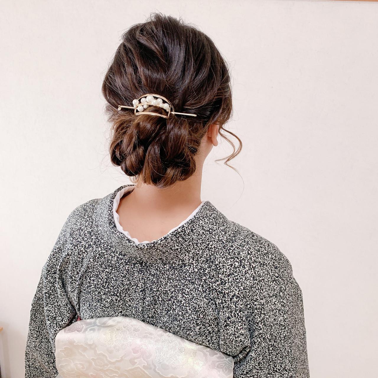 和装ヘア 訪問着 着物 ロング ヘアスタイルや髪型の写真・画像