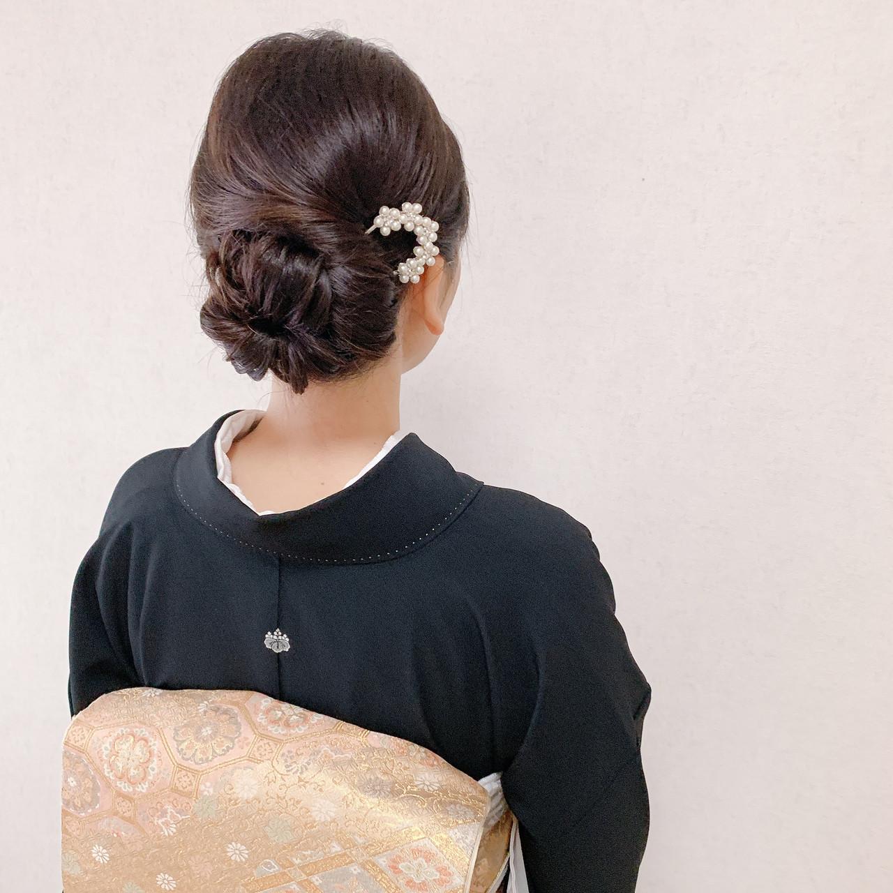 卒業式 エレガント 着物 ミディアム ヘアスタイルや髪型の写真・画像