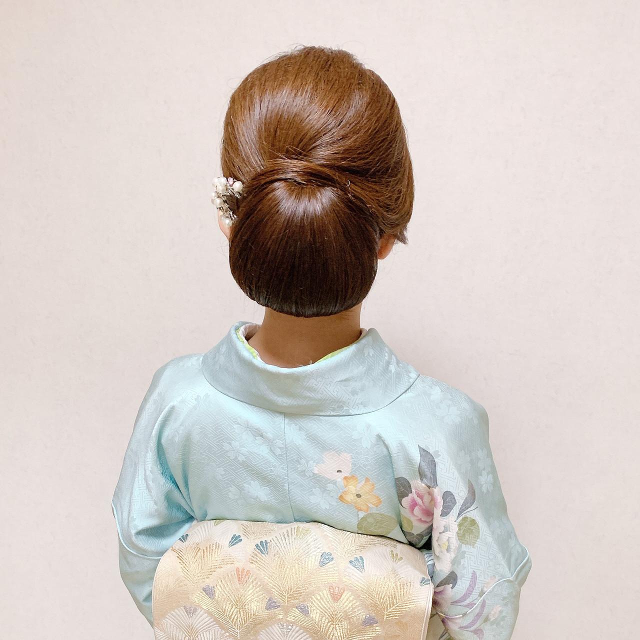 ミディアム 着物 訪問着 結婚式 ヘアスタイルや髪型の写真・画像