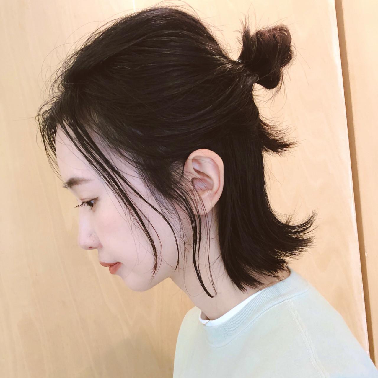 お団子アレンジ ボブ ストリート セルフアレンジ ヘアスタイルや髪型の写真・画像