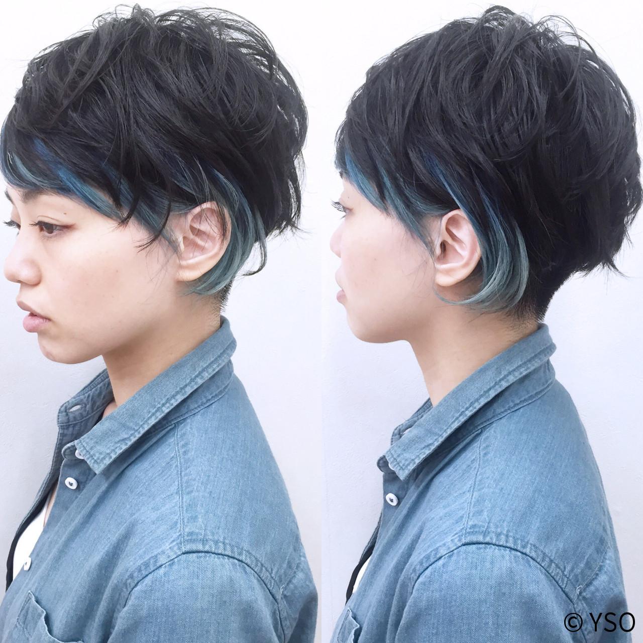 黒髪 モード インナーカラー ショート ヘアスタイルや髪型の写真・画像