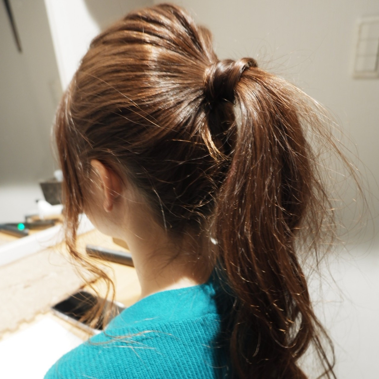 ナチュラル ポニーテール ロング 簡単ヘアアレンジ ヘアスタイルや髪型の写真・画像