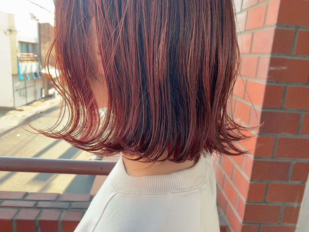 チェリーレッド 切りっぱなしボブ インナーカラー 赤髪 ヘアスタイルや髪型の写真・画像