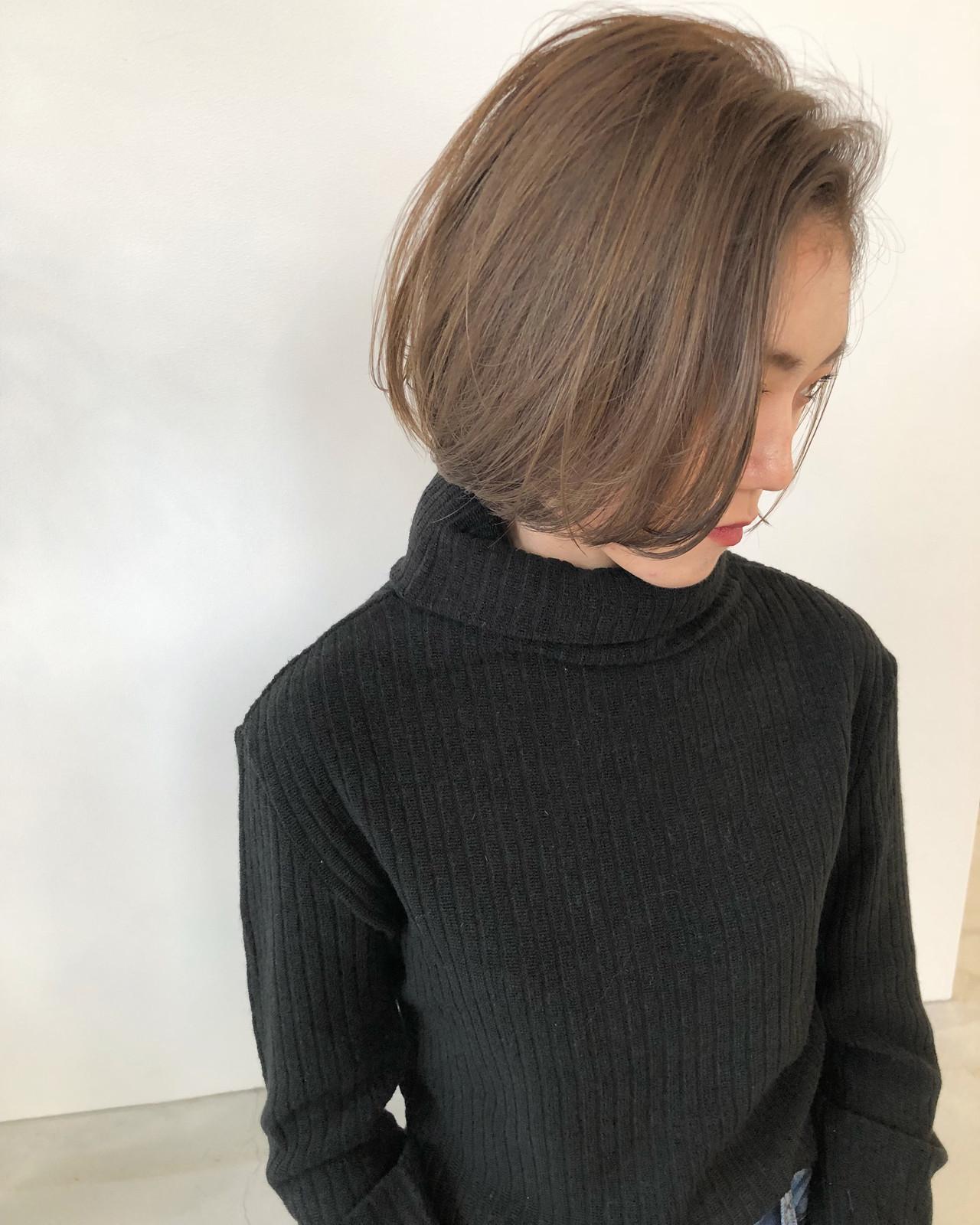ヘアアレンジ ベージュ ミルクティーベージュ ボブ ヘアスタイルや髪型の写真・画像