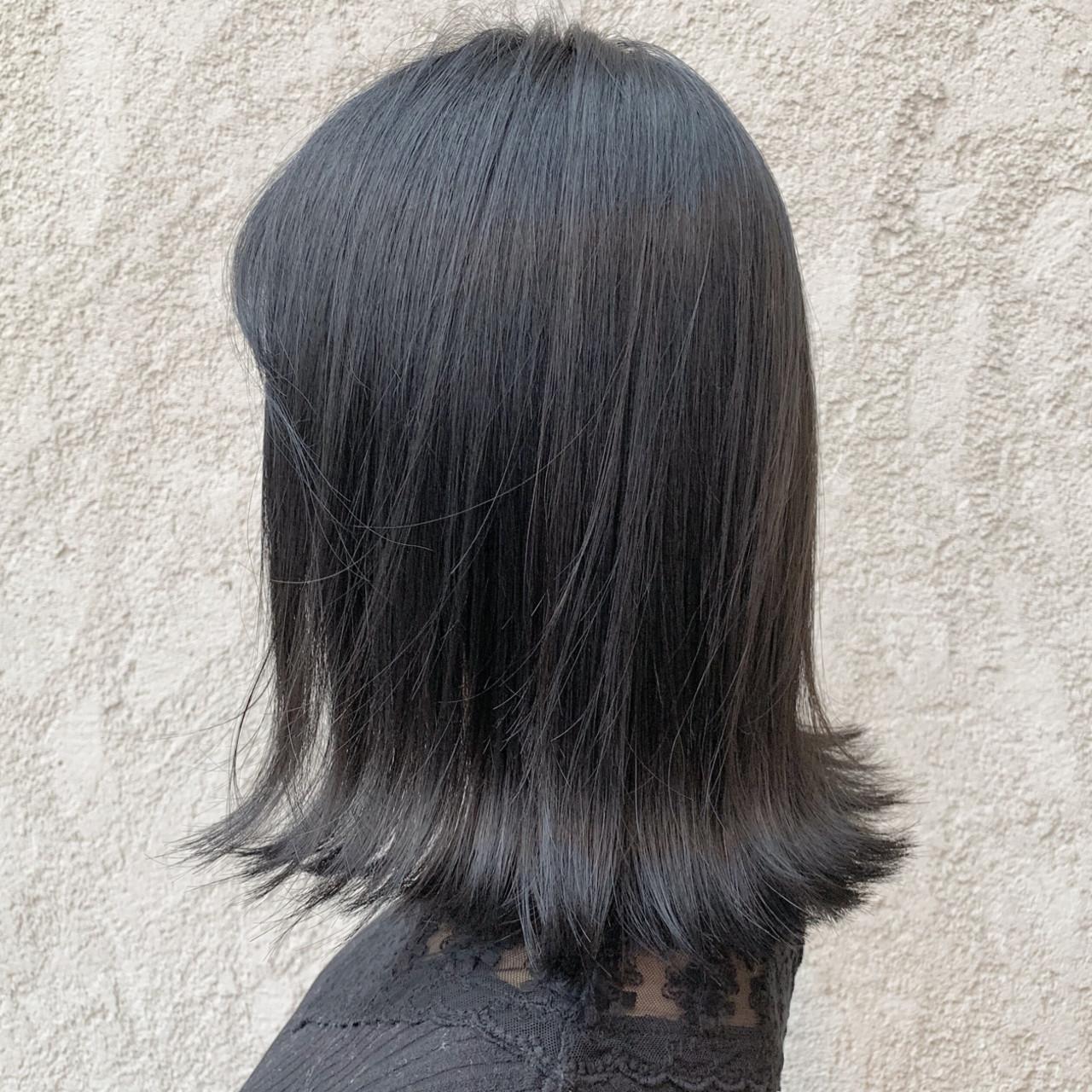 黒髪 グレージュ ダークカラー 透明感カラー ヘアスタイルや髪型の写真・画像