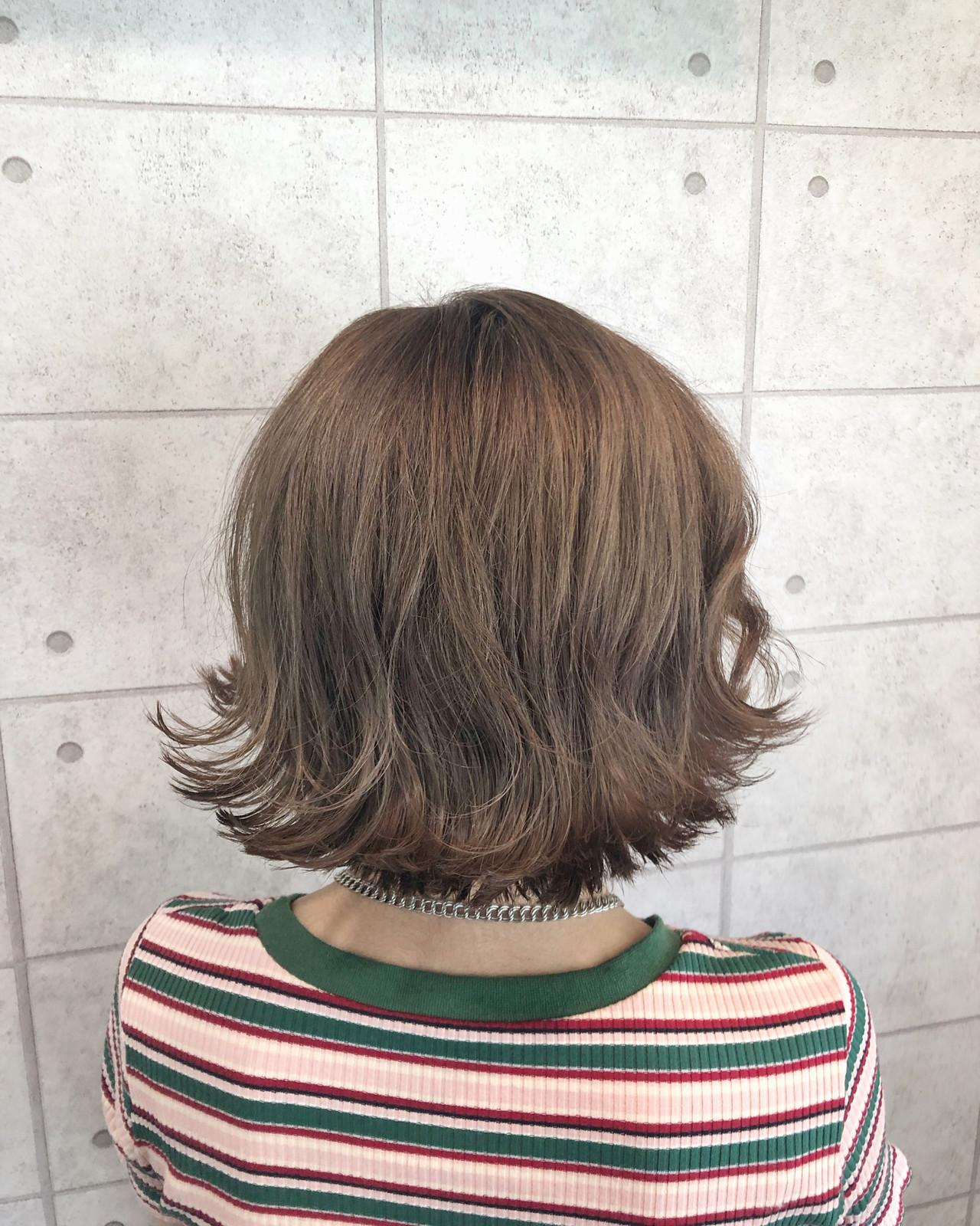 ボブ ココアブラウン ガーリー クリーミーカラー ヘアスタイルや髪型の写真・画像
