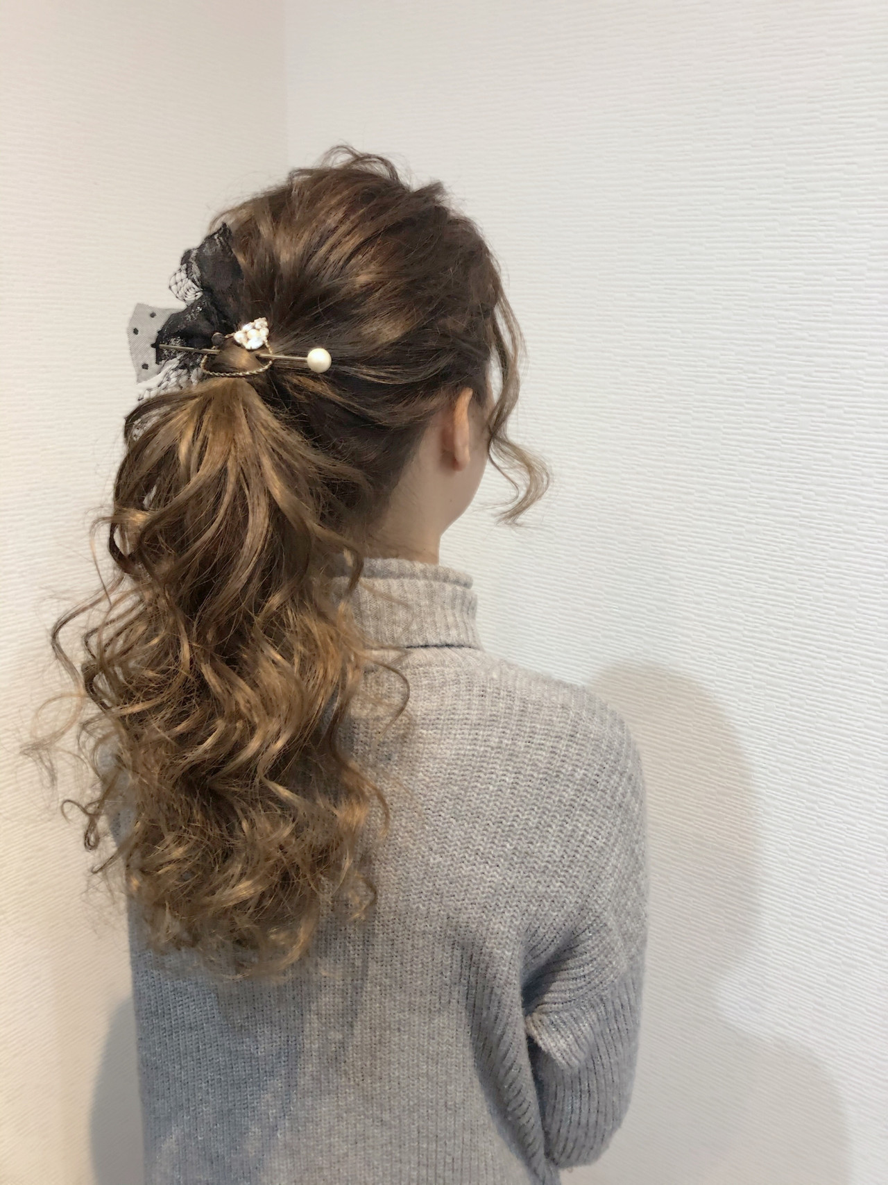 ポニーテール 結婚式 ポニーテールアレンジ ヘアセット ヘアスタイルや髪型の写真・画像