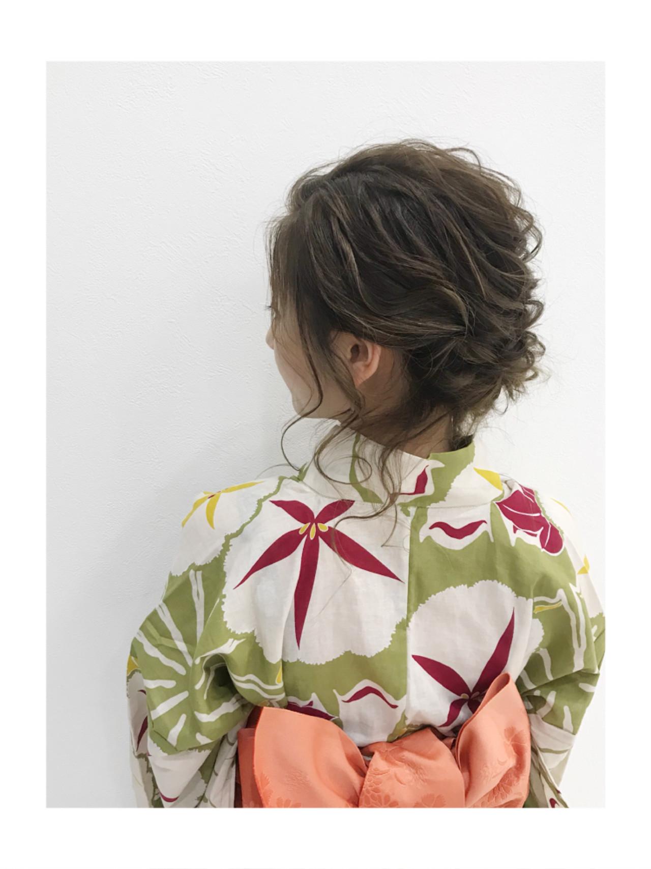 ミディアム お祭り シニヨン デート ヘアスタイルや髪型の写真・画像