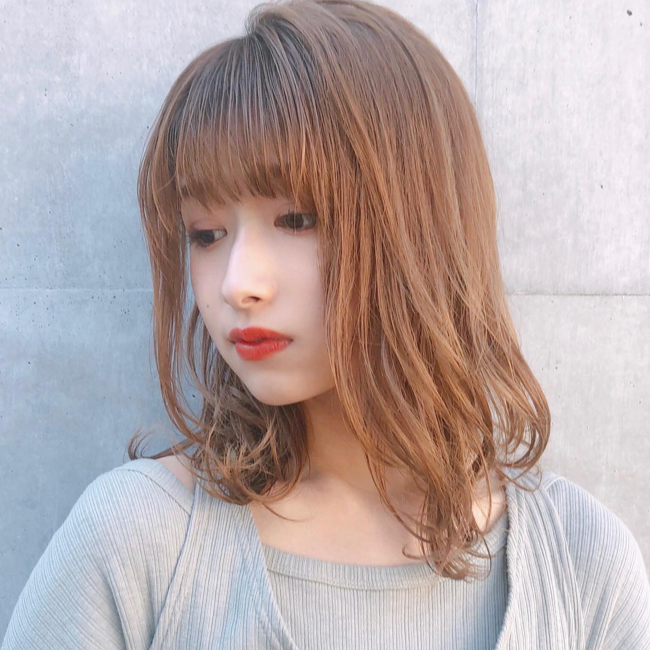 ゆるふわ ミディアム デジタルパーマ 大人かわいい ヘアスタイルや髪型の写真・画像