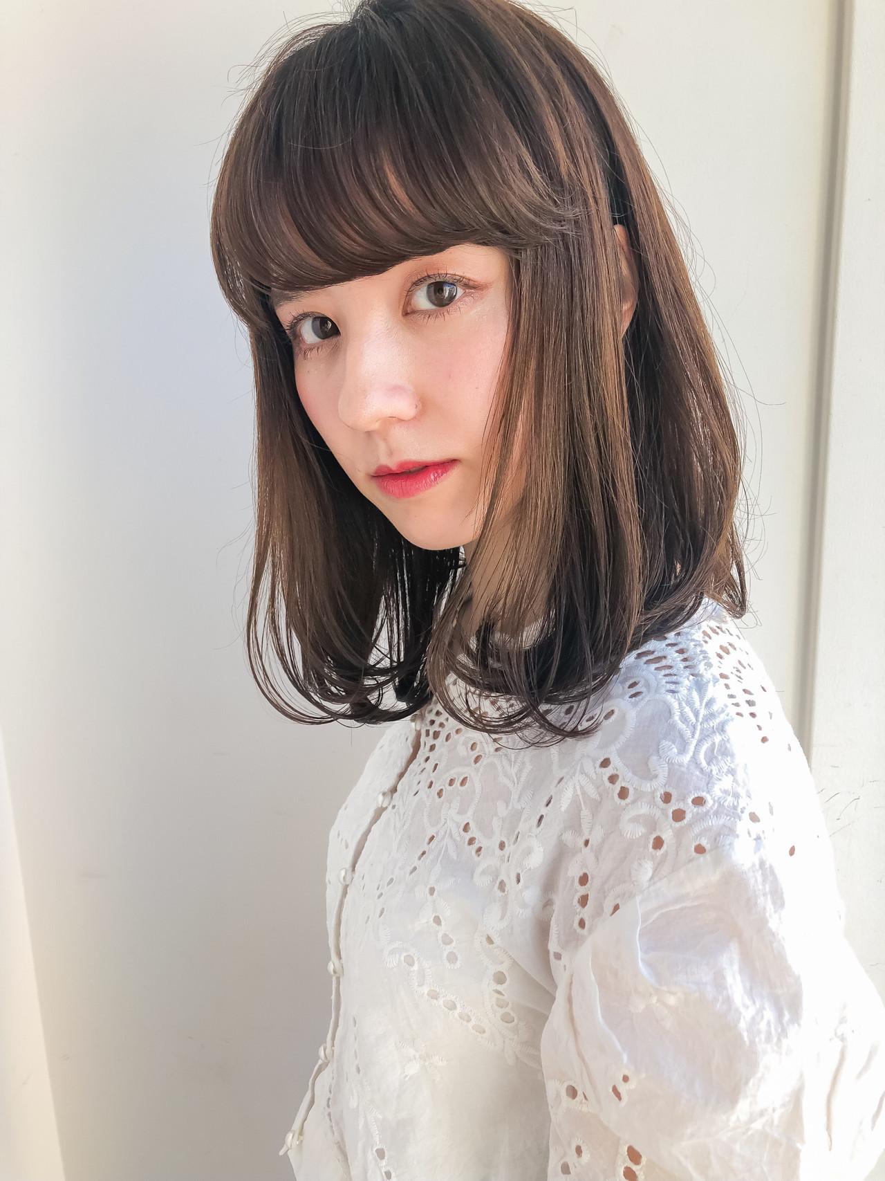 ロブ 韓国ヘア ミディアム タンバルモリ ヘアスタイルや髪型の写真・画像