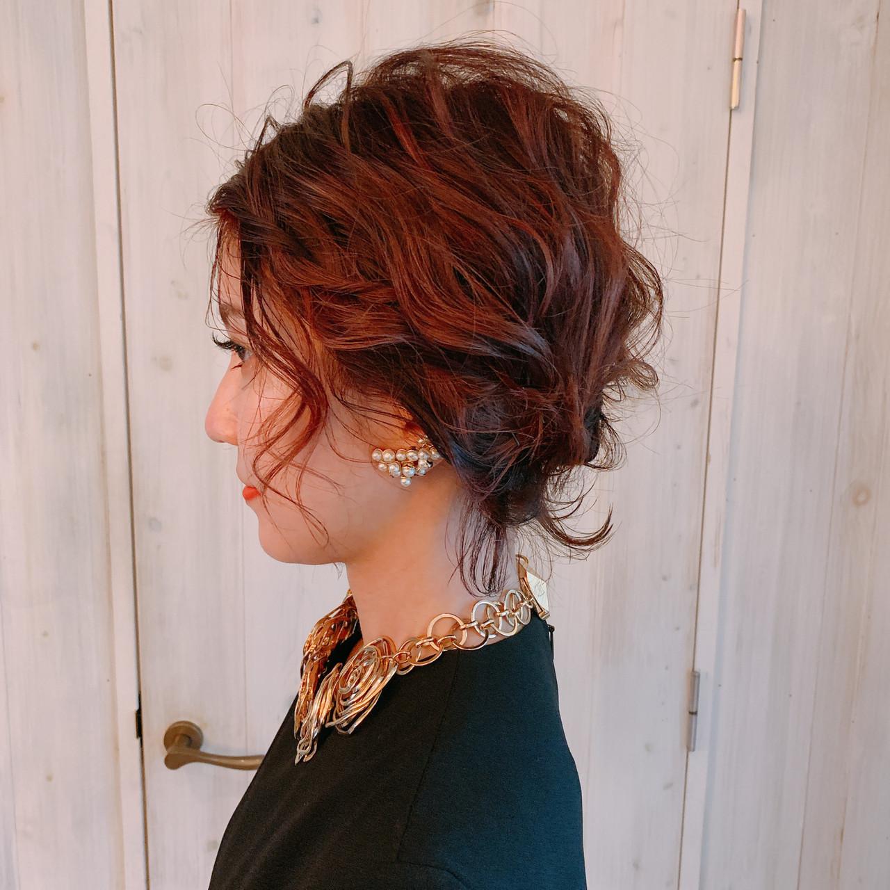 結婚式ヘアアレンジ フェミニン 結婚式髪型 ボブ ヘアスタイルや髪型の写真・画像