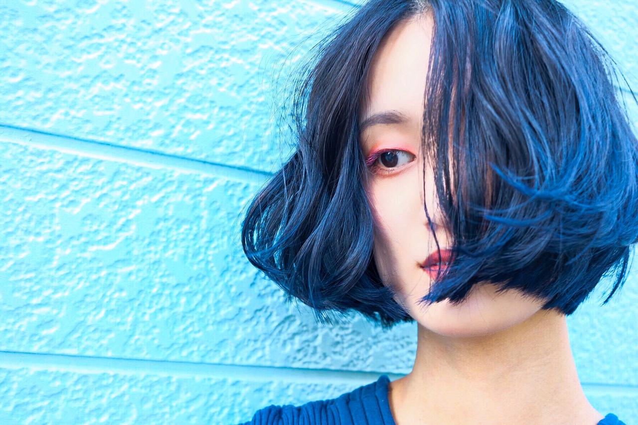 ネイビーブルー ブルーアッシュ ブルーブラック ターコイズブルー ヘアスタイルや髪型の写真・画像