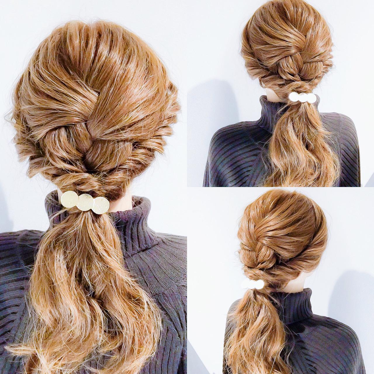 セルフアレンジ 三つ編み 簡単ヘアアレンジ ロング ヘアスタイルや髪型の写真・画像