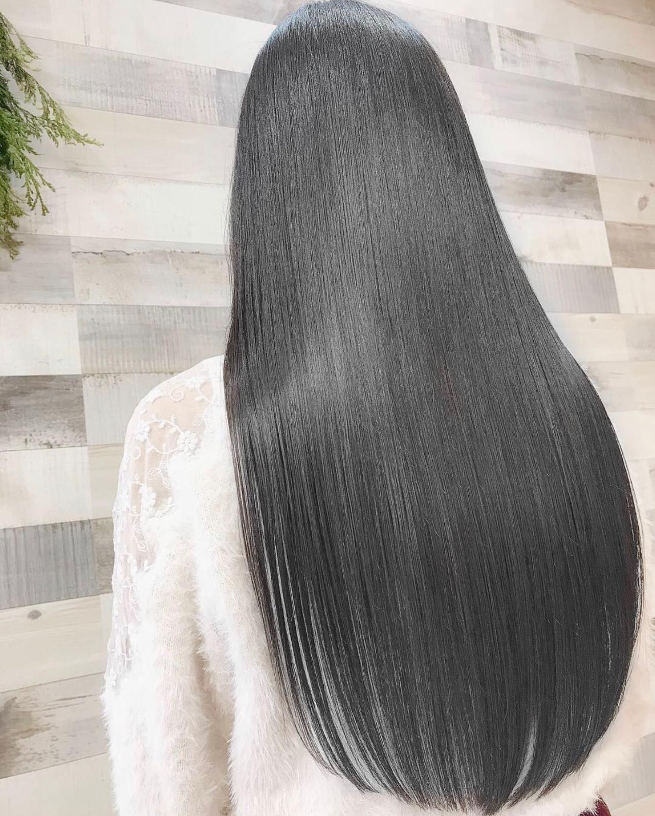 艶髪 髪質改善 ロング グレージュ ヘアスタイルや髪型の写真・画像