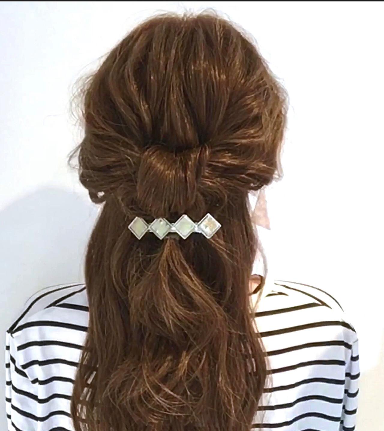 セルフアレンジ フェミニン 簡単ヘアアレンジ ハーフアップ ヘアスタイルや髪型の写真・画像