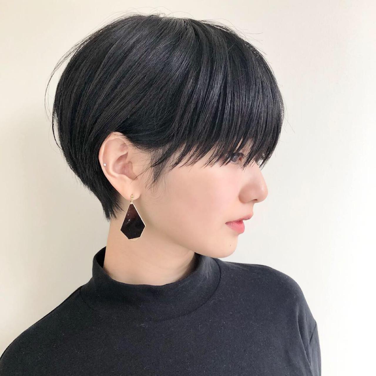 小顔 モード デート 前髪あり ヘアスタイルや髪型の写真・画像