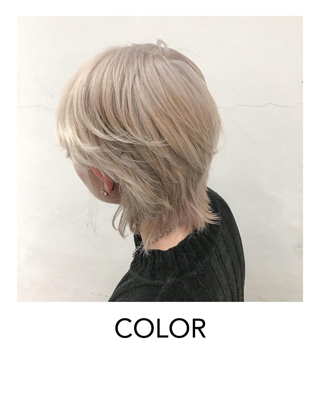 ハイトーンカラー 原宿 モード ホワイトブリーチ ヘアスタイルや髪型の写真・画像