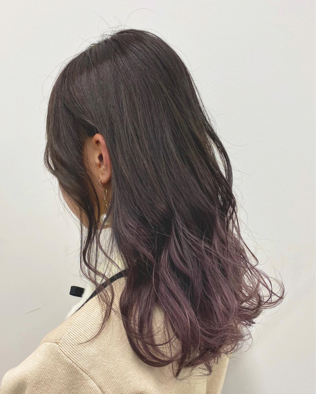 ラベンダーカラー デザインカラー ラベンダーピンク ロング ヘアスタイルや髪型の写真・画像