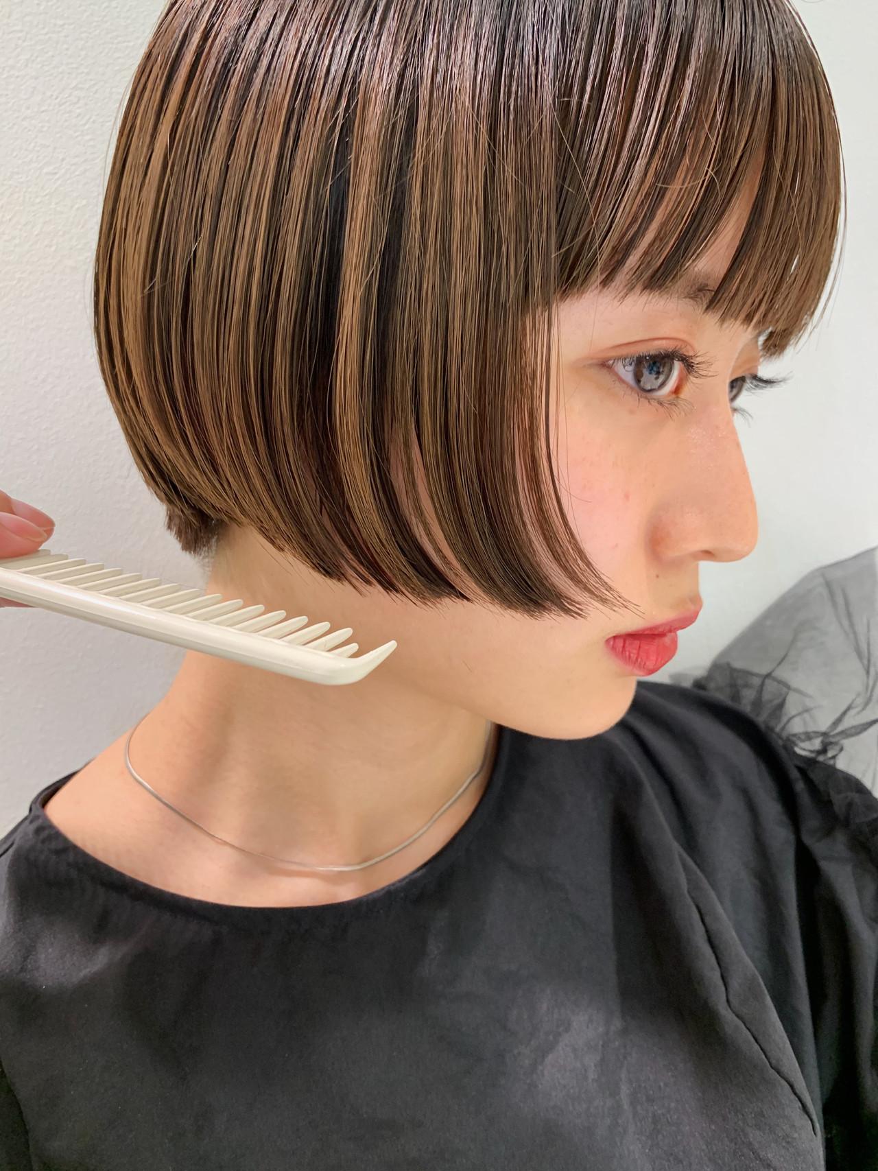 モード ミニボブ ショートボブ 黒髪ショート ヘアスタイルや髪型の写真・画像