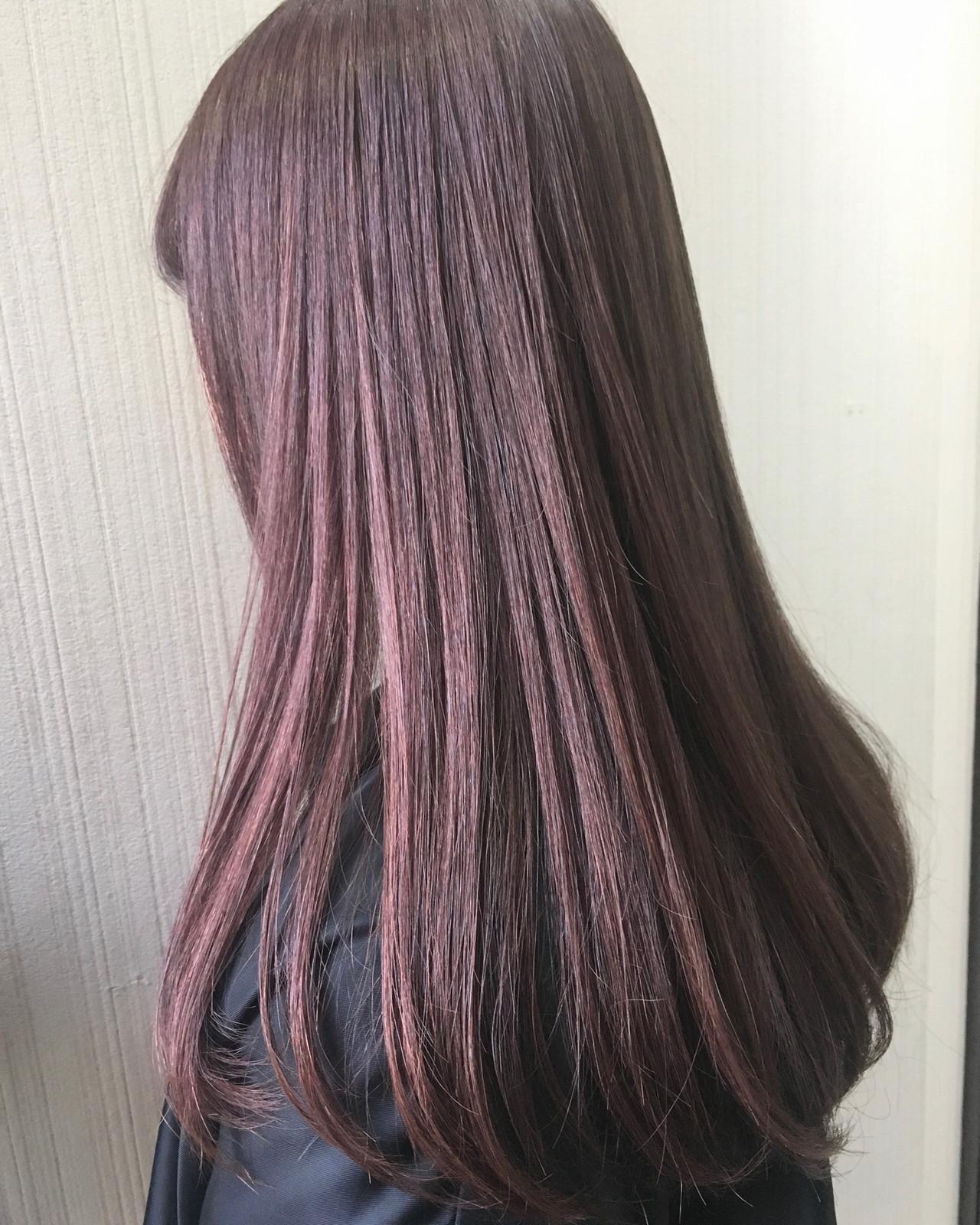 セミロング グレージュ ピンクブラウン ナチュラル ヘアスタイルや髪型の写真・画像