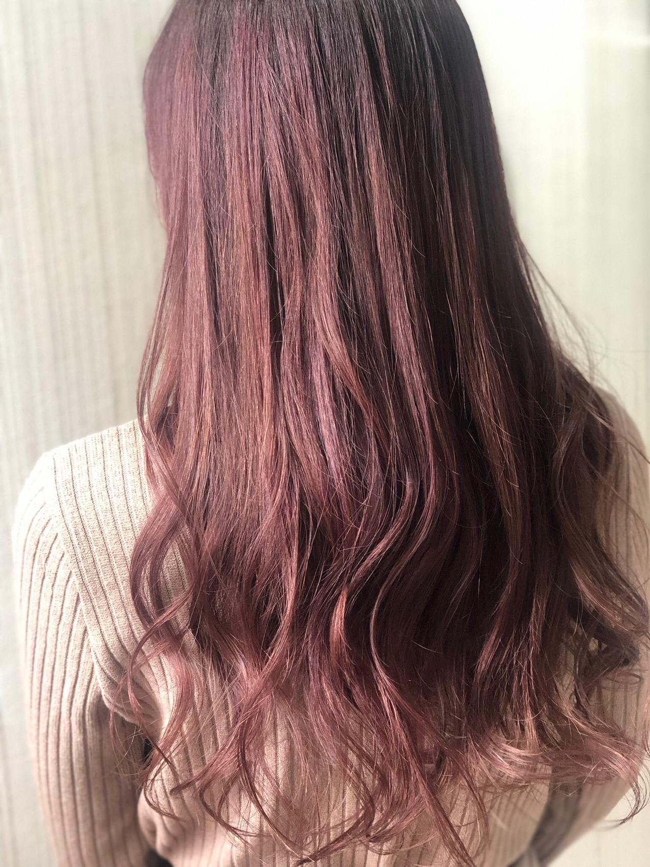 フェミニン ピンクベージュ ラズベリーピンク ピンクブラウン ヘアスタイルや髪型の写真・画像