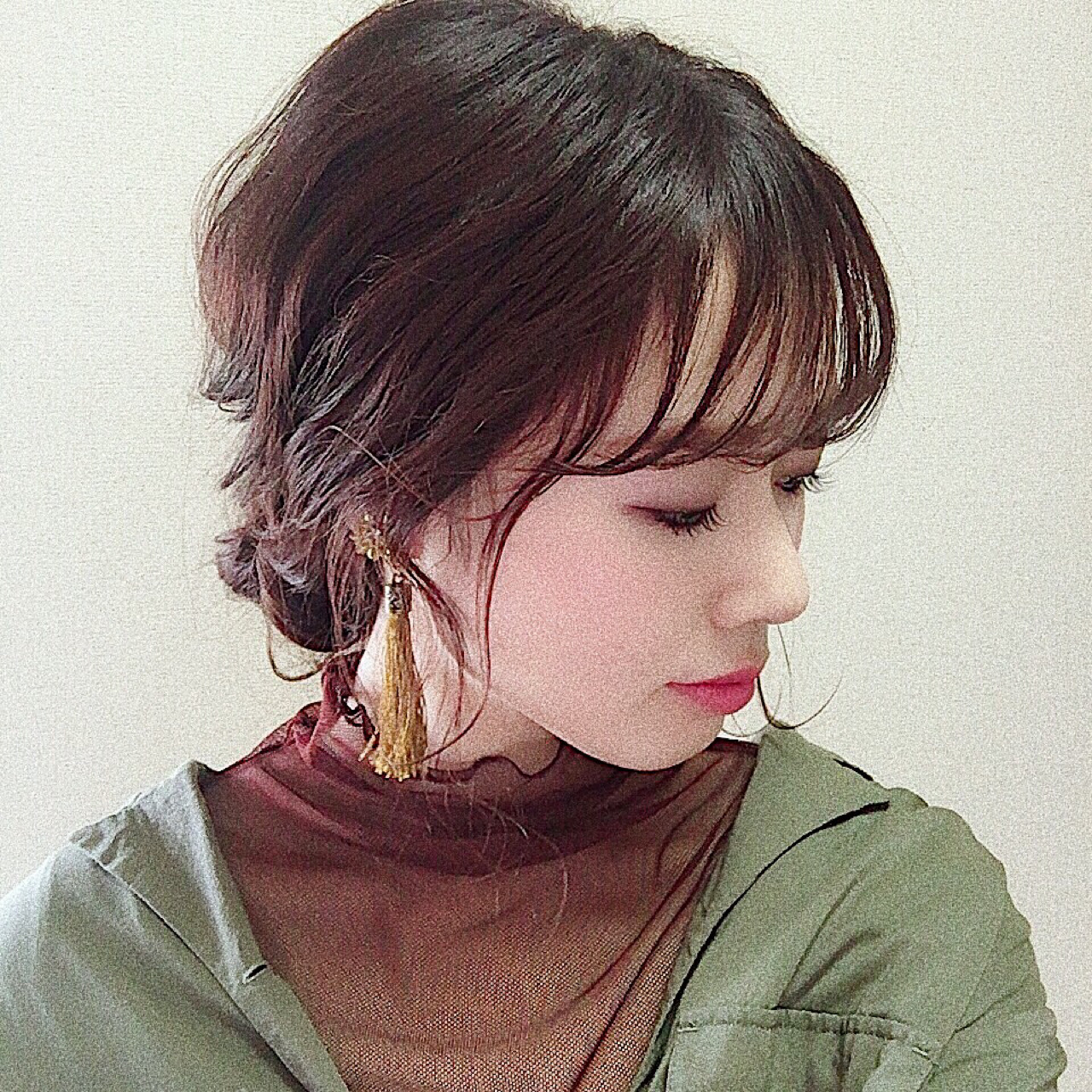 簡単ヘアアレンジ 大人かわいい フェミニン シースルーバング ヘアスタイルや髪型の写真・画像