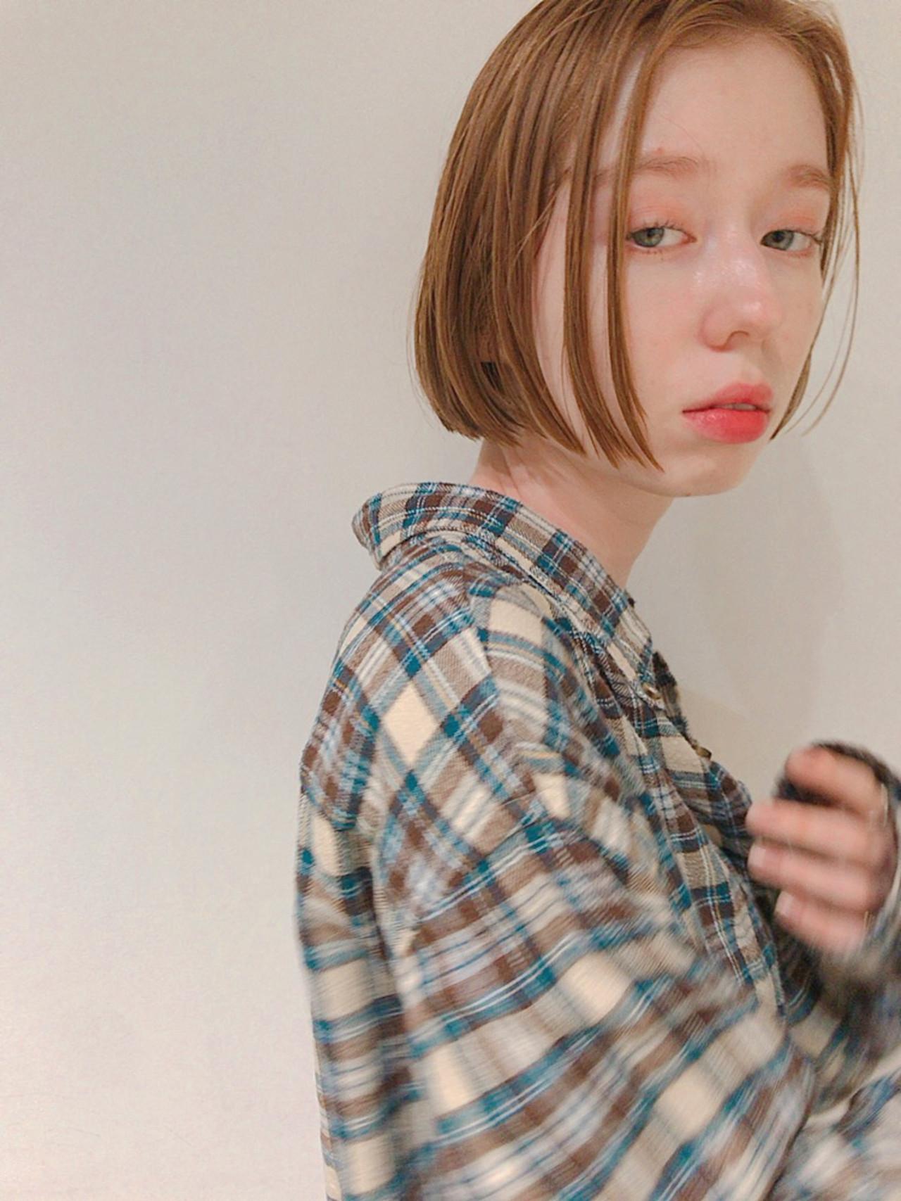 ボブ ミニボブ ミルクティーベージュ オレンジベージュ ヘアスタイルや髪型の写真・画像