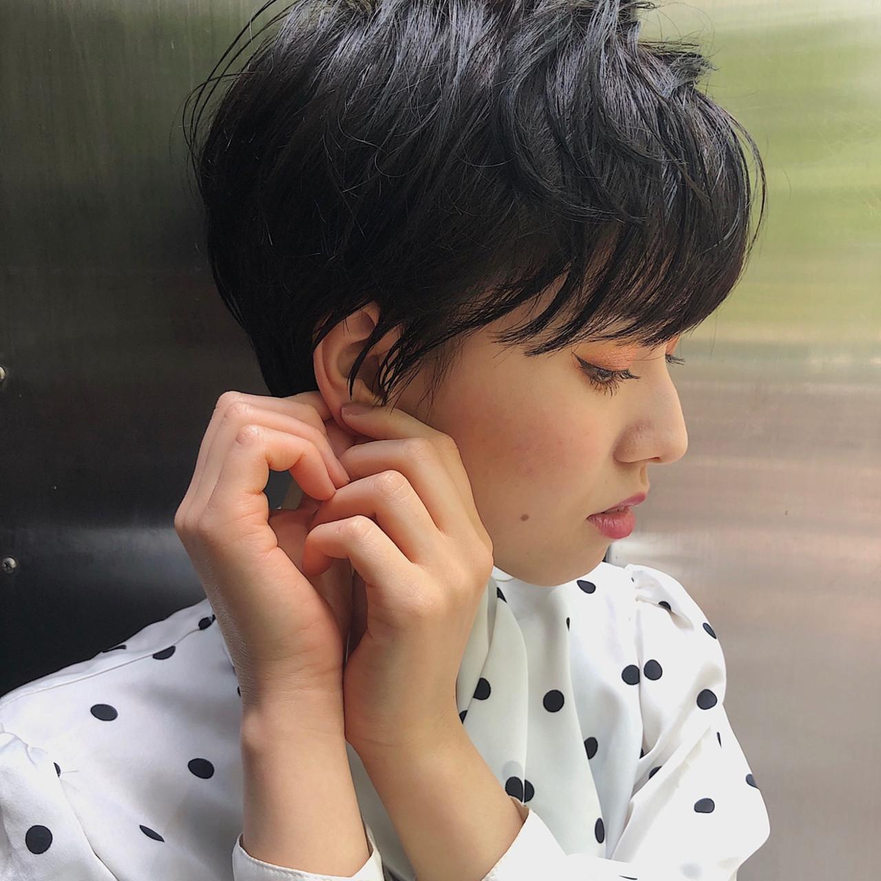 ショートヘア デート ナチュラル ベリーショート ヘアスタイルや髪型の写真・画像
