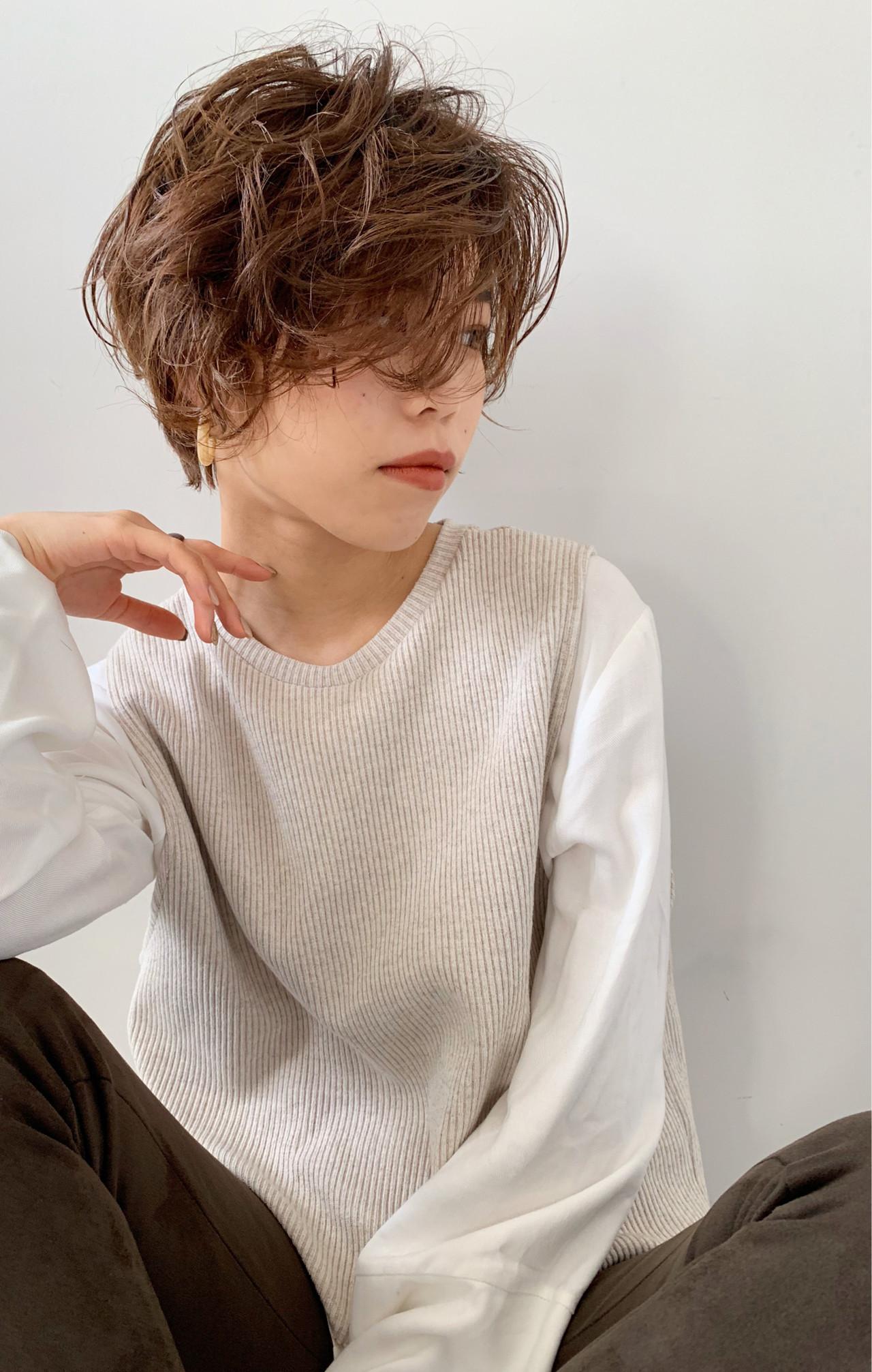ショートヘア ニュアンスヘア 大人カジュアル ショート ヘアスタイルや髪型の写真・画像