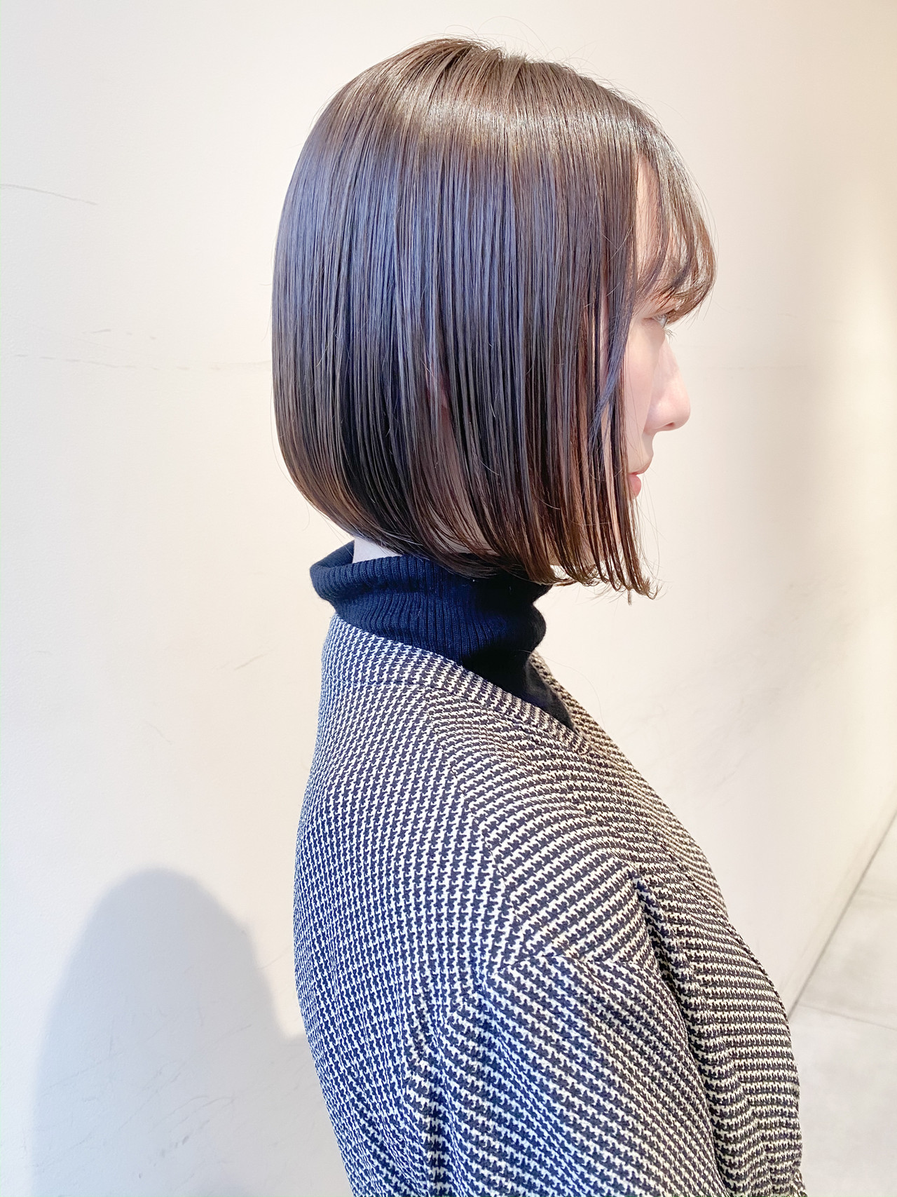 ミニボブ ショートボブ ナチュラル ミルクティーグレージュ ヘアスタイルや髪型の写真・画像