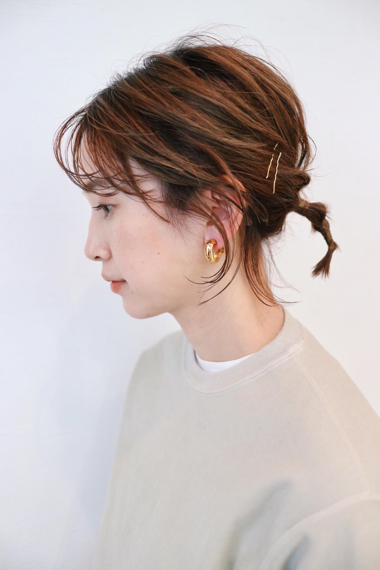 ガーリー ヘアアレンジ グラデーションカラー セルフヘアアレンジ ヘアスタイルや髪型の写真・画像
