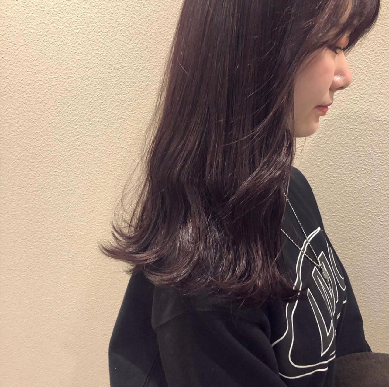 ピンクバイオレット ロング ラベンダーピンク ピンクパープル ヘアスタイルや髪型の写真・画像