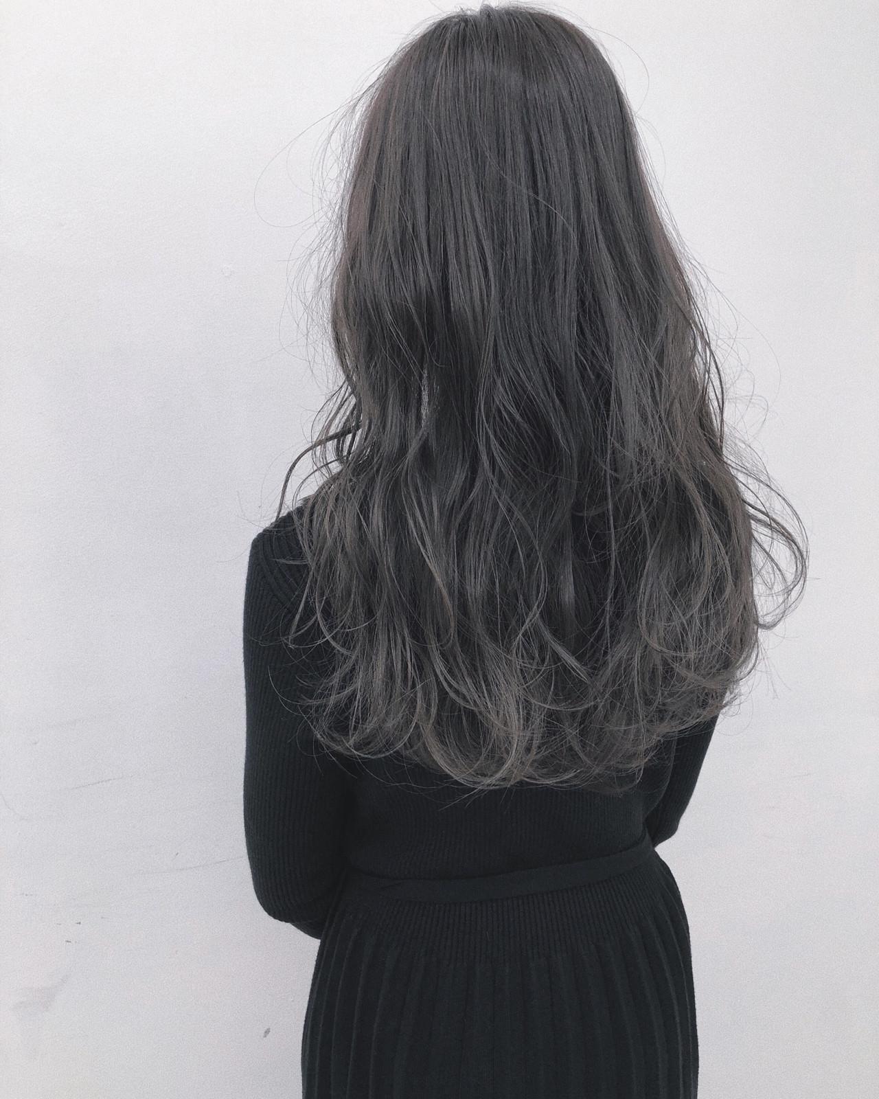 ブルージュ ナチュラル 暗髪 ブルーアッシュ ヘアスタイルや髪型の写真・画像