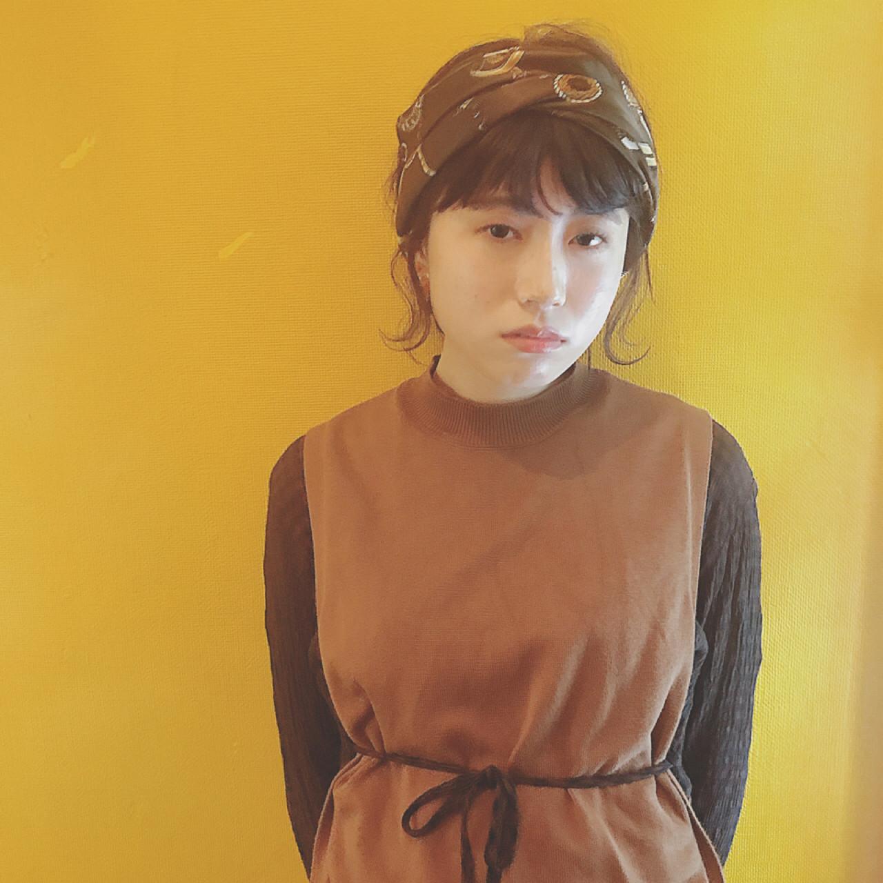 バンダナ 簡単ヘアアレンジ ヘアアレンジ ボブ ヘアスタイルや髪型の写真・画像