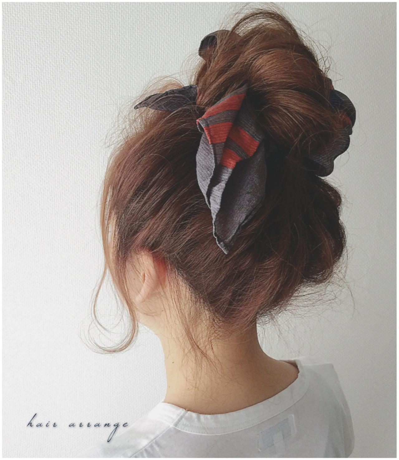 ショート バンダナ ヘアアレンジ ロング ヘアスタイルや髪型の写真・画像