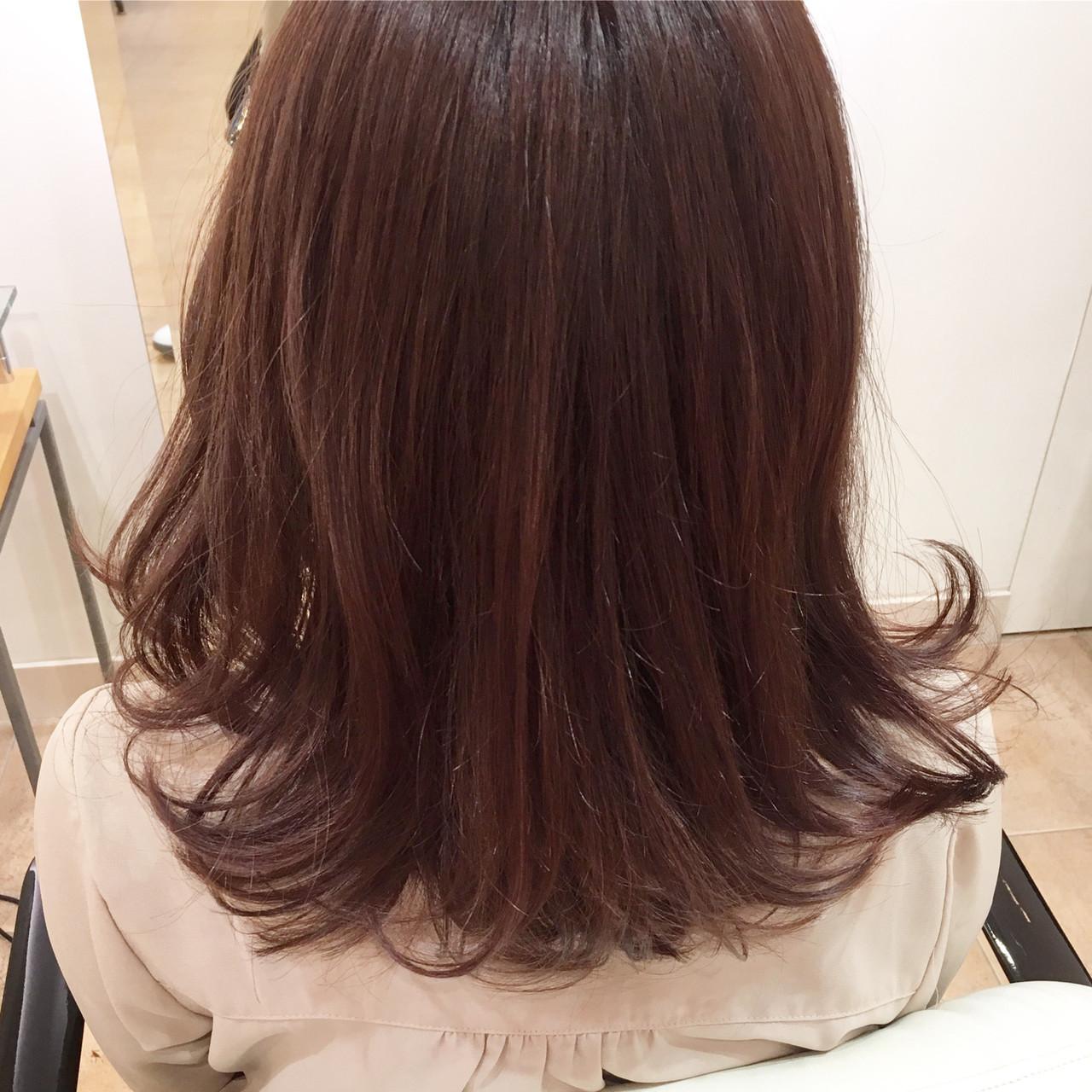 ワンレングス 毛先パーマ セミロング ワンレンベース ヘアスタイルや髪型の写真・画像