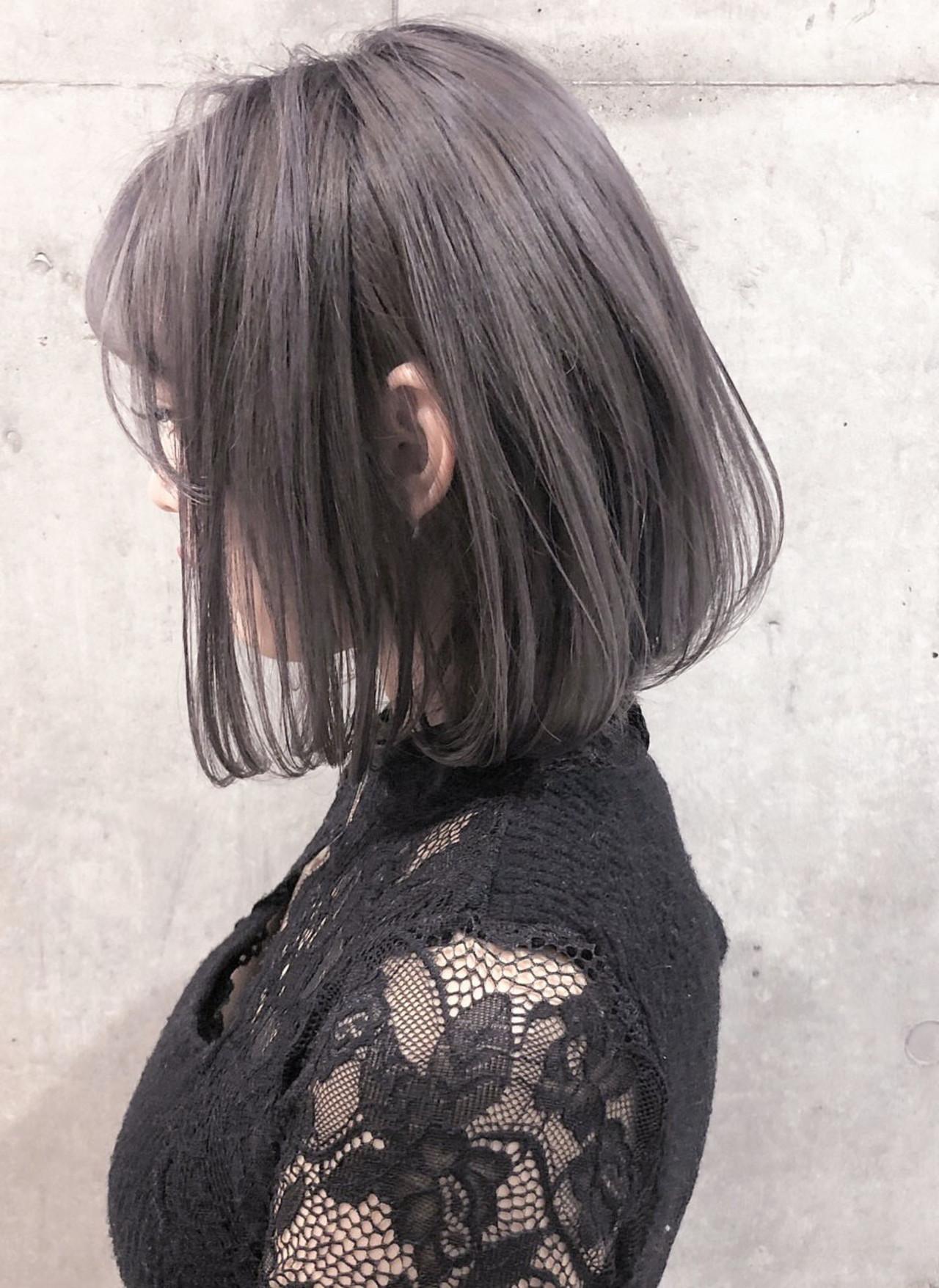 切りっぱなしボブ 3Dハイライト ボブ ナチュラル ヘアスタイルや髪型の写真・画像