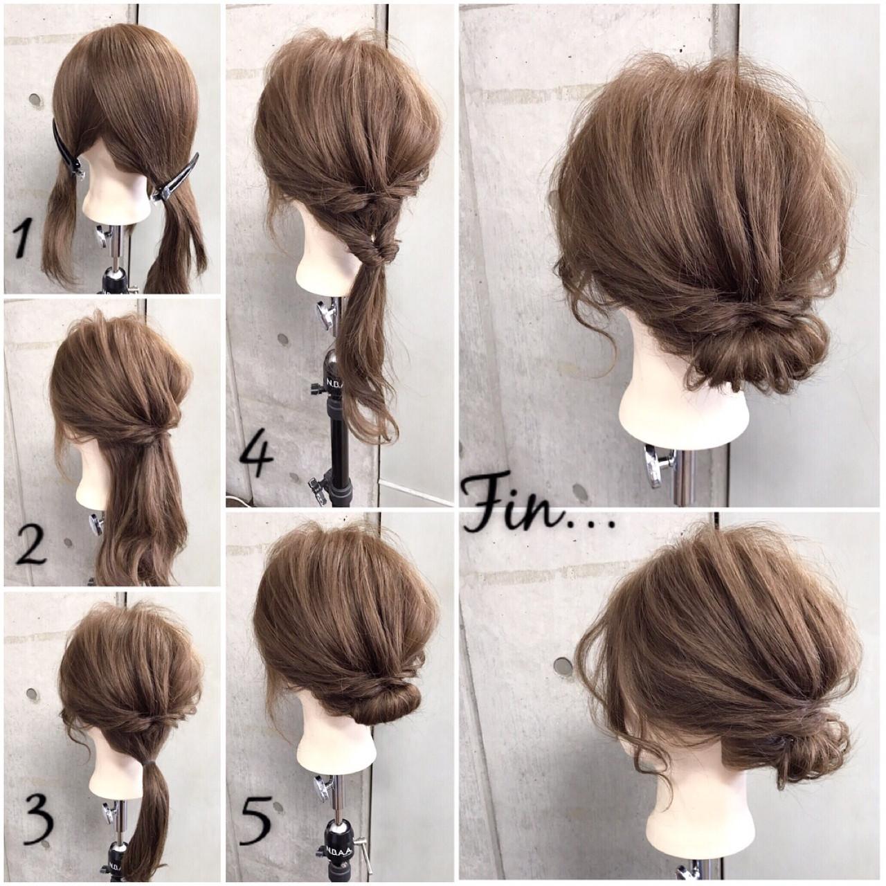 和装 簡単 セミロング ギブソンタック ヘアスタイルや髪型の写真・画像