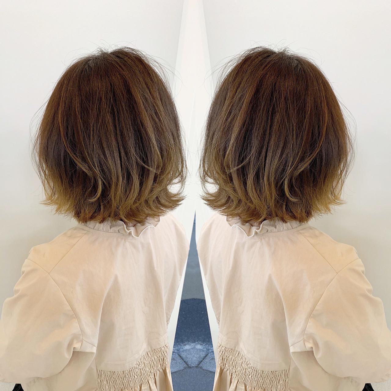 外国人風カラー 外ハネボブ デート ボブ ヘアスタイルや髪型の写真・画像