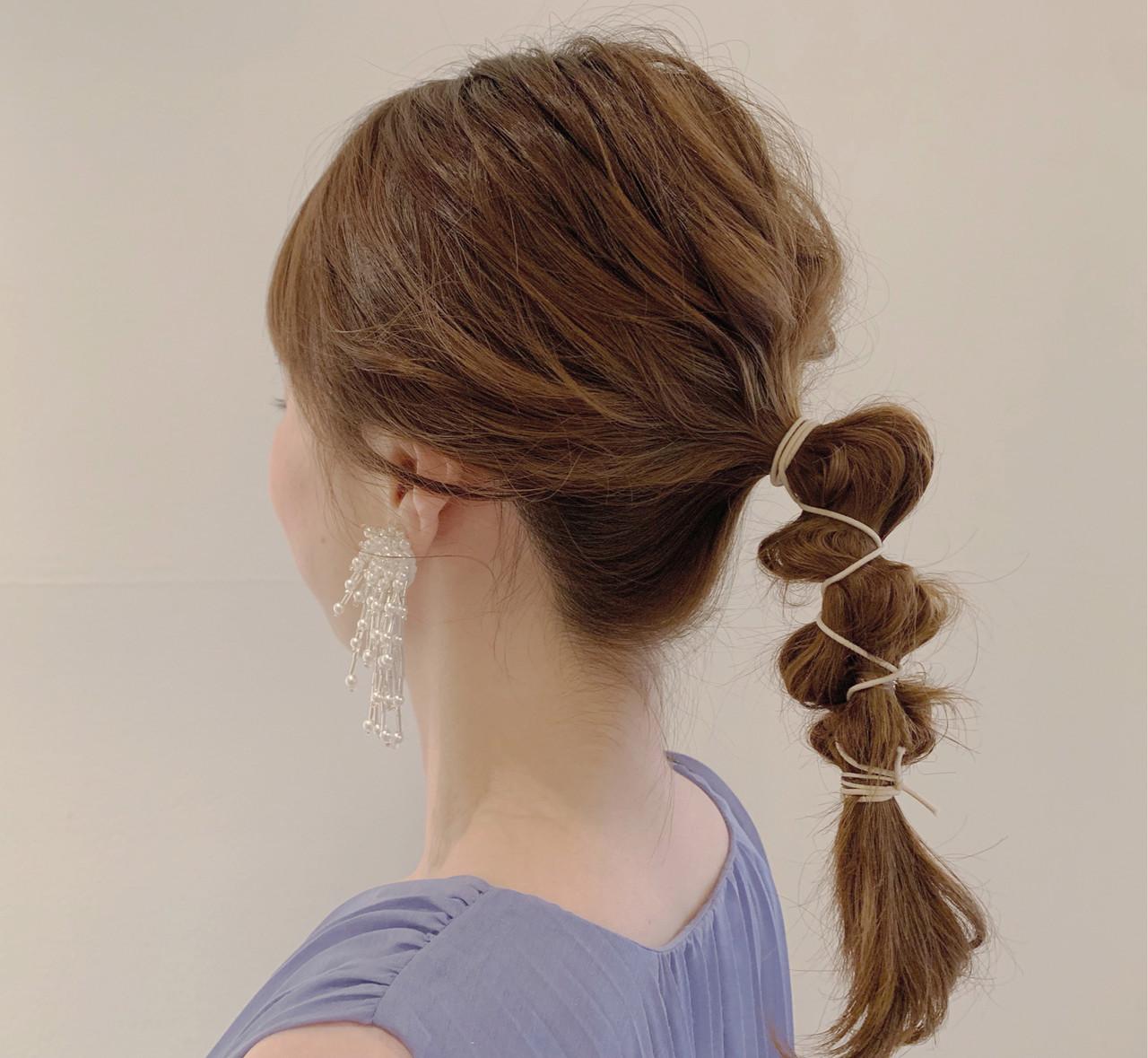 ヘアセット ヘアアレンジ 簡単ヘアアレンジ ミディアム ヘアスタイルや髪型の写真・画像