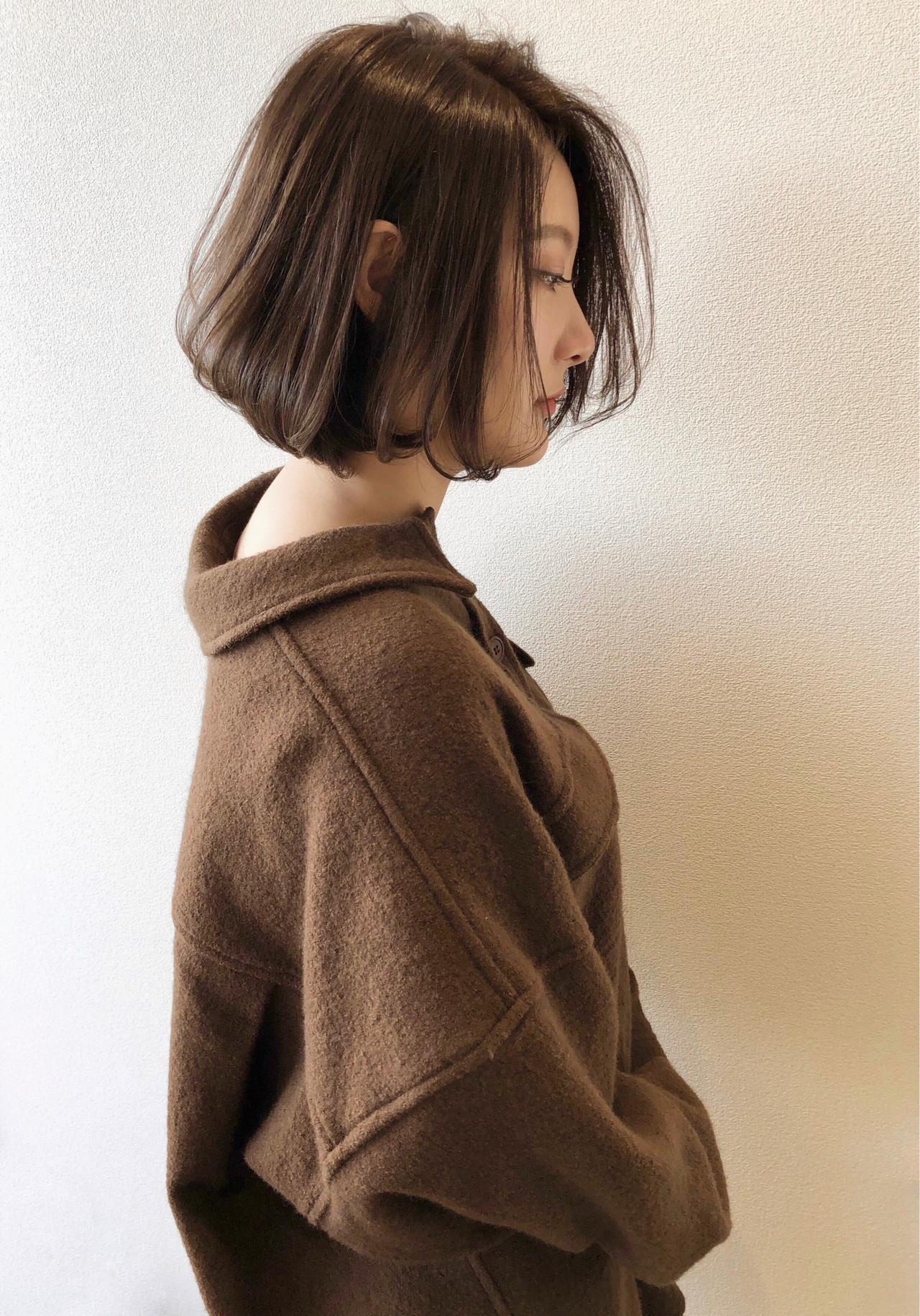 秋冬スタイル 大人グラボブ まとまるボブ ナチュラル ヘアスタイルや髪型の写真・画像
